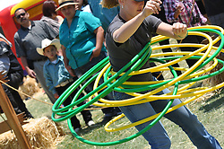 Brooke Lindo, 12, make a record ten hula hoops dance at Sunday's final Day of Champions at the California Rodeo Salinas.