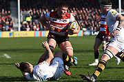 Gloucester flanker Jake Polledri bursts through during the Aviva Premiership match between Gloucester Rugby and Wasps at the Kingsholm Stadium, Gloucester, United Kingdom on 24 February 2018. Picture by Alan Franklin.