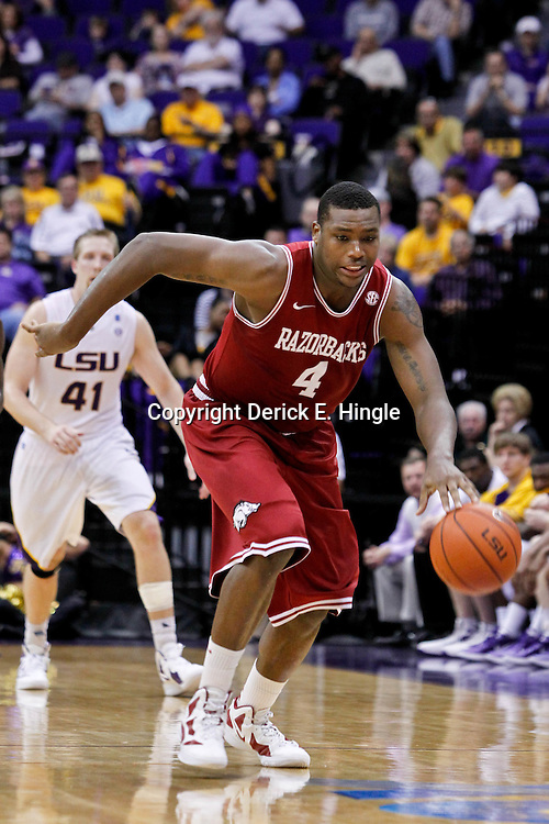 February 4, 2012; Baton Rouge, LA; Arkansas Razorbacks forward Devonta Abron (4) against the LSU Tigers during the second half of a game at the Pete Maravich Assembly Center. LSU defeated Arkansas 71-65.  Mandatory Credit: Derick E. Hingle-US PRESSWIRE