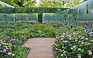 'De l'autre c&ocirc;t&eacute; du Miroir'<br /> <br /> Designers: Nicolas Stadler, Alice Stadler and Thierry Giraut (France)<br /> <br /> Wooden boardwalk, large flowering borders and walls of mirrors<br /> <br /> Festival International des Jardins 2017, Domaine der Chaumont-sur-Loire, France<br /> <br /> &copy; Andrea Jones/Garden Exposures Photo Library