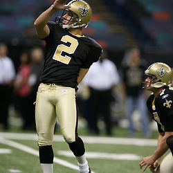 2007 October, 21: Saints kicker Orlindo Mare(2) prior to kickoff of a 22-16 win by the New Orleans Saints over the Atlanta Falcons at the Louisiana Superdome in New Orleans, LA.
