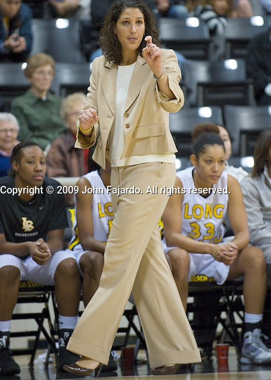 Long Beach State women's basketball coach Jody Wynn during the game against Cal at the Walter Pyramid, Long Beach, CA, Monday Dec. 21, 2009.