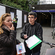 London,England,UK. 28th April 2017.  DPAC demonstration to hightlights - Transport for All protesting at eight stations across London, calling on the Government to reverse the shameful decision to cancel their key Access for All projects at Seven Sister saw many local commuters supporting Transport For All and signing a partition. by See Li