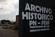 Entrance gate to the National Police Historical Archives. On July 5, 2005, the historical archives of the now dissolved National Police were found in an abandoned arms depot in the outskirts of Guatemala City. The discovery of these millions of documents, which were allegedly lost after the 1996 Peace Accords, provide important evidence in the search for the thousands of people who were detained and subsequently disappeared by State security forces during the internal armed conflict (1960-1996). Guatemala City, Guatemala. March 20, 2009.