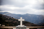 Cemetary of the little mountain village of Sklavopoula located about 20 km from the city of Paleochora on the Greek island of Crete.