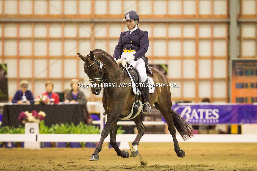 NZL-Andrea Martin (HAWKSTONE SANDRINGHAM) 1ST-LEVEL 7 CHAMPIONSHIP ROUND 1: FEI INTERMEDIATE 1 (2009) 2014 NZL-Bates New Zealand Dressage Championships: Manfeild Park - Feilding (Friday 28 February) CREDIT: Libby Law COPYRIGHT: LIBBY LAW PHOTOGRAPHY - NZL