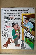 """The Naschmarkt, Vienna's biggest market. Wuerstl-Fritz sausage stand. Comics about the """"Wiener Wuerstelstand""""."""