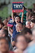 MELBOURNE, VIC - MARCH 01: A young Rebel fan holds a try sign after the Rebels score at The Super Rugby match between Melbourne Rebels and Highlanders on March 01, 2019 at AAMI Park, VIC. (Photo by Speed Media/Icon Sportswire)