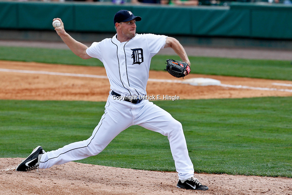 March 14, 2012; Lakeland, FL, USA; Detroit Tigers starting pitcher Max Scherzer (37) throws during the top of the fourth inning of a spring training game against the New York Mets at Joker Marchant Stadium. Mandatory Credit: Derick E. Hingle-US PRESSWIRE
