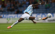Huddersfield Town striker Ishmael Miller goes close during the Sky Bet Championship match between Huddersfield Town and Brighton and Hove Albion at the John Smiths Stadium, Huddersfield, England on 18 August 2015.