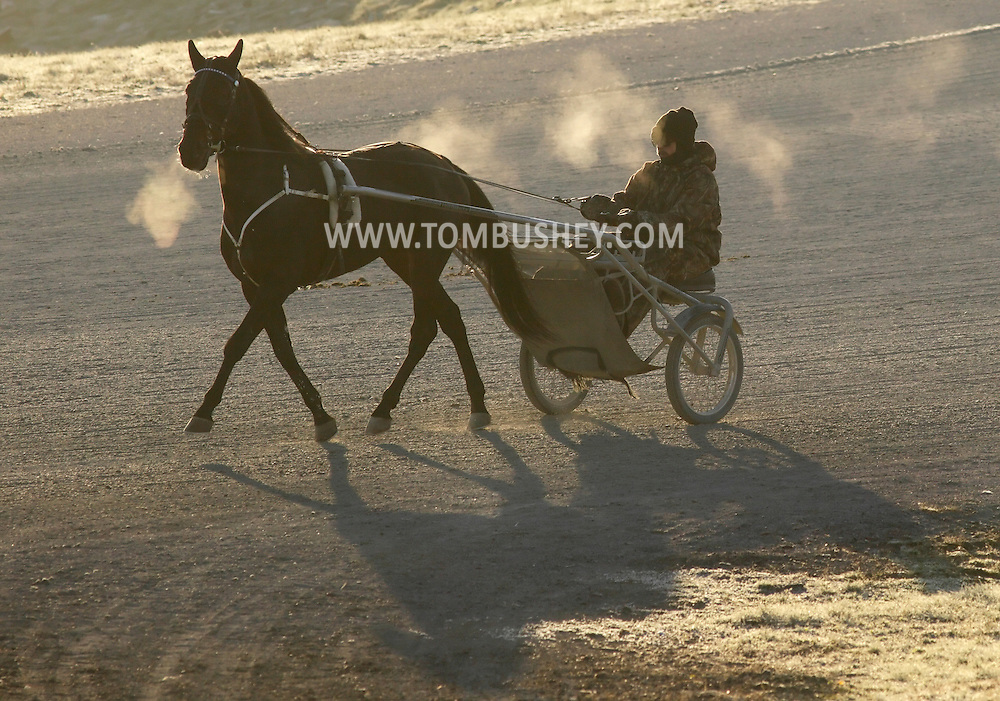 Town of Wallkill, New York  - A trainer and harness racing horse work out on a cold morning at the Mark Ford Training Center on  Dec.12, 2011