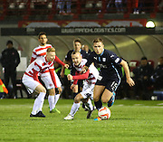 Dundee's Greg Stewart races away from Hamilton's Grant Gillespie and Ali Crawford -  Hamilton Academical v Dundee, SPFL Premiership at New Douglas Park<br /> <br />  - &copy; David Young - www.davidyoungphoto.co.uk - email: davidyoungphoto@gmail.com