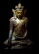 Buddha Maravijaya Pare. Burmese (Myanmar) XV-XVI century Bronze Gilded and painted
