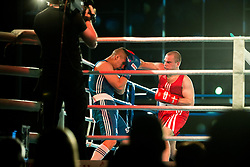 Tomislav Makic of Serbia (BLUE) fights against Aljaz Venko of Slovenia (RED) in Elite 75 kg Category during Dejan Zavec Boxing Gala event in Laško, on April 21, 2017 in Thermana Lasko, Slovenia. Photo by Vid Ponikvar / Sportida