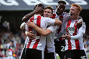 Brentford forward Scott Hogan (9)  celebrating scoring opening goal 1-0 during the EFL Sky Bet Championship match between Brentford and Nottingham Forest at Griffin Park, London, England on 16 August 2016. Photo by Matthew Redman.