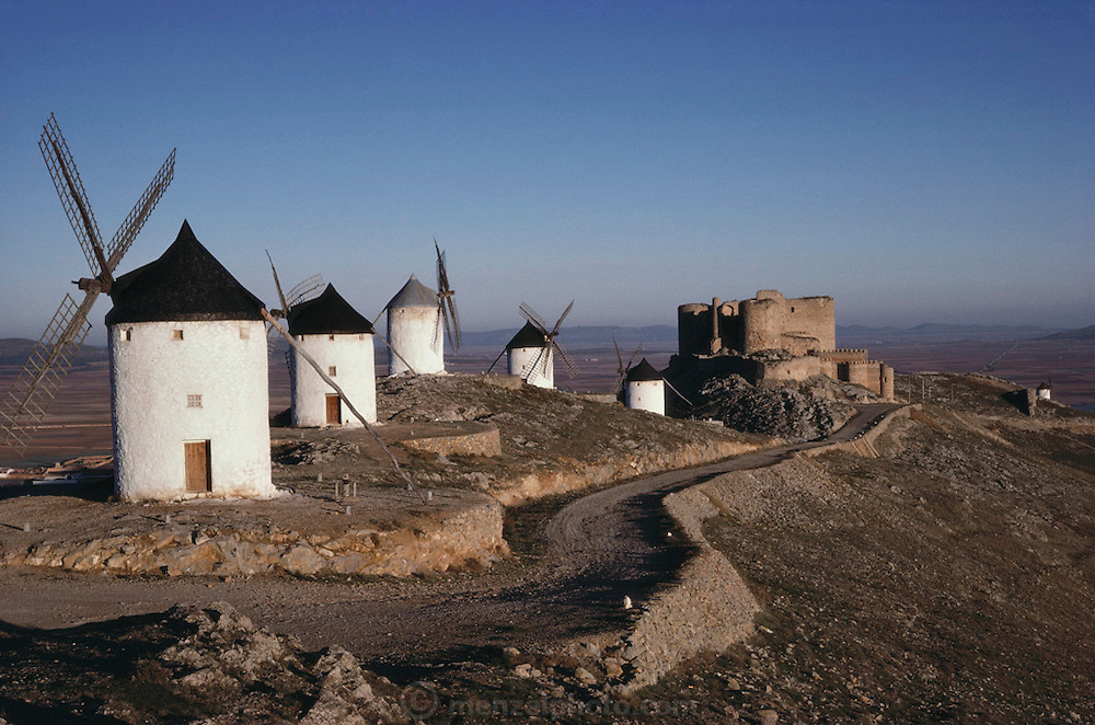 Whitewashed windmills at Consuegra, La Mancha, Spain.