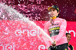 FUCECCHIO, ITALY - MAY 12: Podium / Primoz Roglic of Slovenia and Team Jumbo - Visma Pink Leader Jersey / Celebration / Champagne / during the 102nd Giro d'Italia 2019, Stage 2 a 205km stage from Bologna to Fucecchio / Tour of Italy / #Giro / @giroditalia / on May 12, 2019 in Fucecchio, Italy. Photo by Massimo Paolone/LaPresse