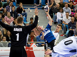 02.11.2016, Arena Nova, Wiener Neustadt, AUT, EHF, Handball EM Qualifikation, Österreich vs Finnland, Gruppe 3, im Bild Thomas Bauer (AUT), Miro Koljonen (FIN), Nikola Bilyk (AUT)// during the EHF Handball European Championship 2018, Group 3, Qualifier Match between Austria and Finland at the Arena Nova, Wiener Neustadt, Austria on 2016/11/02. EXPA Pictures © 2016, PhotoCredit: EXPA/ Sebastian Pucher