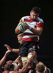 Elliott Stooke of Gloucester Rugby wins the ball at a lineout - Mandatory byline: Patrick Khachfe/JMP - 07966 386802 - 13/09/2015 - RUGBY UNION - Memorial Stadium - Bristol, England - Gloucester Rugby v Bath Rugby - West Country Challenge Cup.
