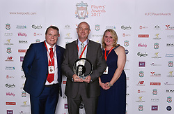 LIVERPOOL, ENGLAND - Tuesday, May 9, 2017: Jeremy Barnes head teacher at All Saints School with Steven Hesketh and Pauline Robinson after winning the Bill Shankly Community Award at the Liverpool FC Players' Awards 2017 at Anfield. (Pic by Andrew Powell/Liverpool FC/Pool/Propaganda)