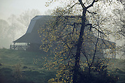 barn on a farm in the mountains with morning weather