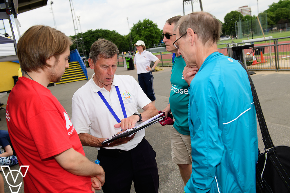 Metro Blind Sport's 2017 Athletics Open held at Mile End Stadium.  Race officials<br /> <br /> Picture: Chris Vaughan Photography for Metro Blind Sport<br /> Date: June 17, 2017
