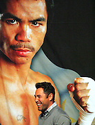 Oscar De La Hoya stands beneath a poster of the fighter who ended his career, Manny Pacquiao. Weigh in for the Light Welterweight title fight between Ricky Hatton and Manny Pacquiao at the MGM Grand, Las Vegas, 1st May 2009.