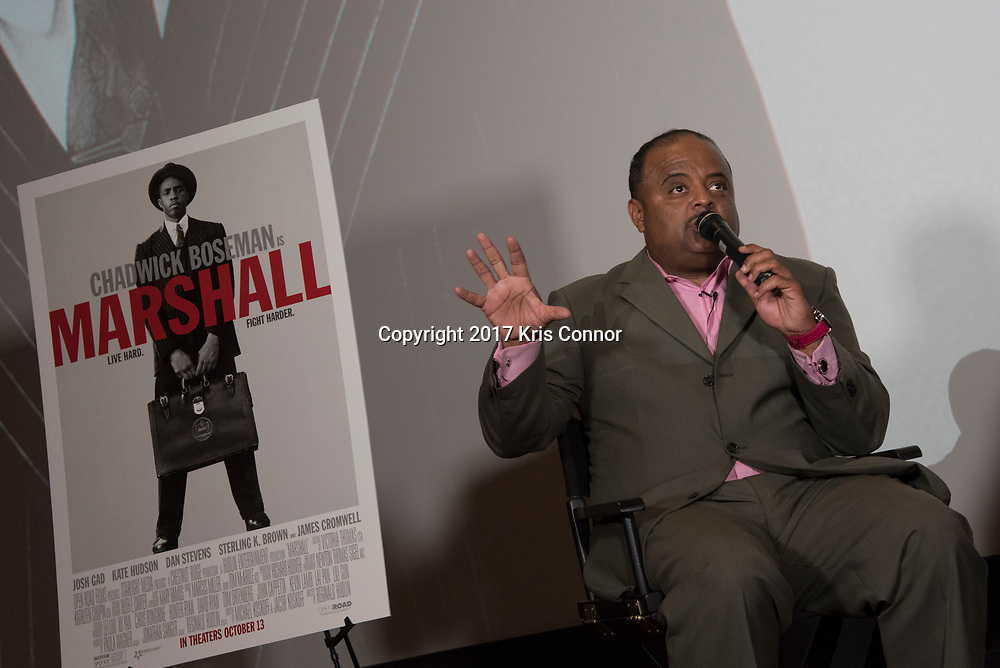 Roland Martin during during a Q&A session with director Reginald Hudlin and actor Chadwick Boseman after a screening of Open Road Films' new movie MARSHALL at in Baltimore, Md. on July 25th, 2017. (Photo by Kris Connor/Open Road Films)