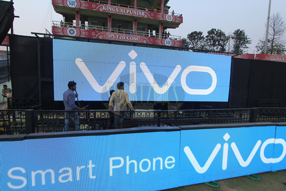 Vivo logo on sigh screen during match 36 of the Vivo Indian Premier League ( IPL ) 2016 between the Kings XI Punjab and the Delhi Daredevils held at the IS Bindra Stadium, Mohali, India on the 7th May 2016<br /> <br /> Photo by Arjun Singh / IPL/ SPORTZPICS