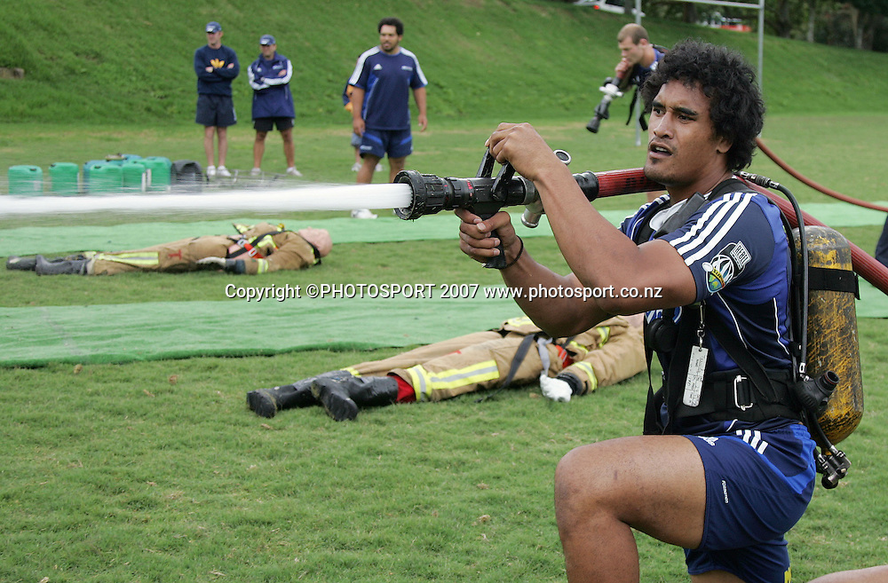 Jerome Kaino during Blues training with the Auckland Fire Department. Unitech, Auckland, New Zealand. Friday 21 December 2007. Photo: Hagen Hopkins/PHOTOSPORT