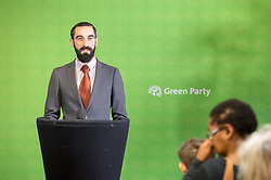 © Licensed to London News Pictures. 06/11/2019. Bristol, UK. General Election 2019; CONAN CONNOLLY Green parliamentary candidate for Bristol East. The Green Party's national campaign event at We The Curious in Bristol Harbourside on the day of the official start of the general election campaign 2019. The Green Party are targeting the seat of Bristol West where the Labour MP Thangam Debbonaire has a large majority but where the Green candidate came first in the elections for the European Parliament. Photo credit: Simon Chapman/LNP.