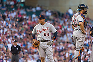 Miguel Cabrera #24 of the Detroit Tigers plays around during a pitching change during a game against the Minnesota Twins on June 15, 2013 at Target Field in Minneapolis, Minnesota.  The Twins defeated the Tigers 6 to 3.  Photo: Ben Krause