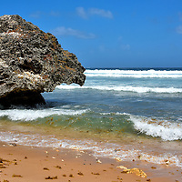 Mushroom Shaped Rock on Bathsheba Beach in Bathsheba, Barbados<br />