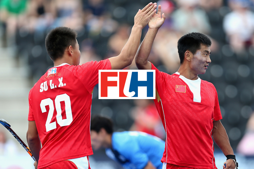 LONDON, ENGLAND - JUNE 17: Lixing Su of China celebrates scoring the first goal for China during the Hero Hockey World League Semi Final match between China and Korea at Lee Valley Hockey and Tennis Centre on June 17, 2017 in London, England.  (Photo by Alex Morton/Getty Images)