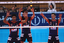 Delano Thomas, Mitja Gasparini and Andrej Flajs  at volleyball match of CEV Indesit Champions League Men 2008/2009 between Trentino Volley (ITA) and ACH Volley Bled (SLO), on November 4, 2008 in Palatrento, Italy. (Photo by Vid Ponikvar / Sportida)