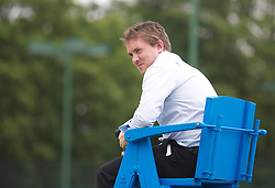 MANCHESTER, ENGLAND: Umpire Jorg Krieger on Day 3 of the Manchester Masters Tennis Tournament at the Northern Tennis Club. (Pic by David Tickle/Propaganda)
