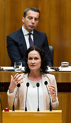 19.05.2016, Parlament, Wien, AUT, Parlament, Nationalratssitzung, Sitzung des Nationalrates mit erster Rede des neuen Bundeskanzlers, im Bild Grüne Klubobfrau Eva Glawischnig vor Bundeskanzler Christian Kern (SPÖ) // Leader of the parliamentary group the greens Eva Glawischnig<br />  in front of Federal Chancellor of Austria Christian Kern during meeting of the National Council of austria with a speech of the new chancellor at austrian parliament in Vienna, Austria on 2016/05/19, EXPA Pictures © 2016, PhotoCredit: EXPA/ Michael Gruber