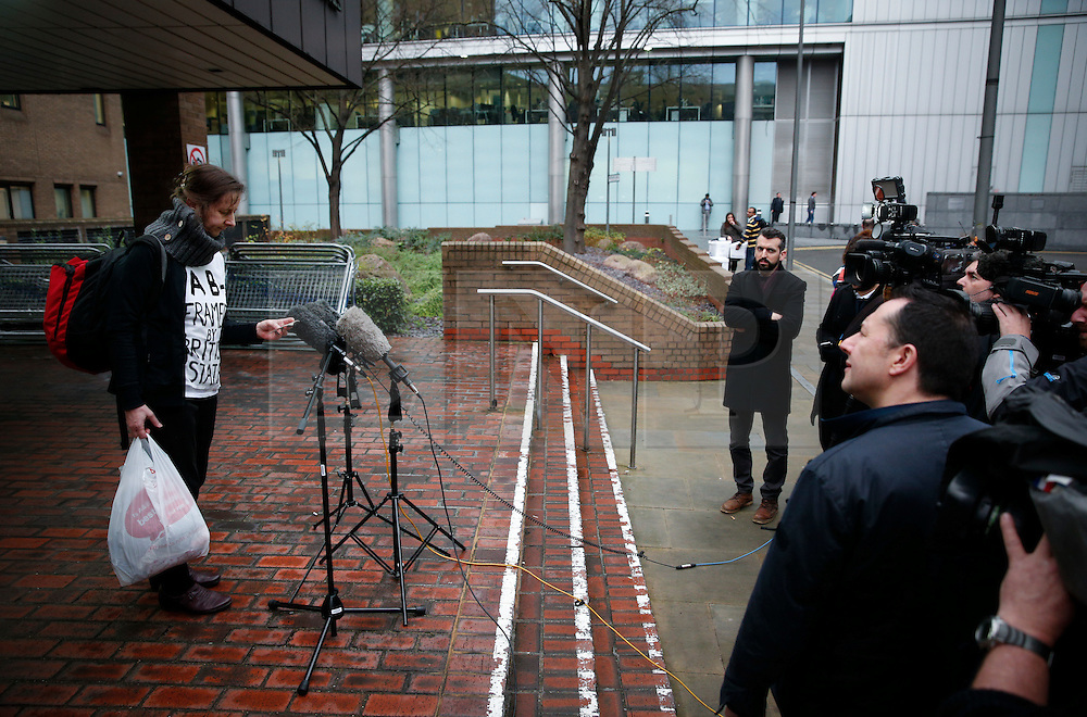 "© Licensed to London News Pictures. 29/01/2016. London, UK. JOSEPHINE HERIVEL wearing a t-shirt with the words ""A B - FRAMED BY BRITISH STATE""  written on it as she reads a statement to media outside Southwark Crown Court in London where Maoist cult leader Aravindan Balakrishnan has been sentenced to 23 years in prison for rape, child cruelty and false imprisonment. Aravindan Balakrishnan was found guilty of the rape of two of his followers and and false imprisonment of  his daughter for more than 30 years in a commune in south London.  Photo credit: Peter Macdiarmid/LNP"
