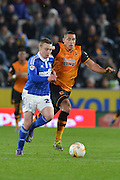 Jake Livermore of Hull City and Freddie Sears of Ipswich Town during the Sky Bet Championship match between Hull City and Ipswich Town at the KC Stadium, Kingston upon Hull, England on 20 October 2015. Photo by Ian Lyall.