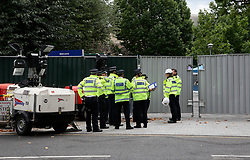 UK ENGLAND LONDON 14JUL17 - Police officers gather at Grenfell Tower in north Kensington, west London, one month after the disaster that left over 80 people dead.<br /> <br /> jre/Photo by Jiri Rezac<br /> <br /> &copy; Jiri Rezac 2017