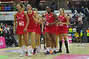 England Women smiling after their victory in the Netball World Cup 2019 Preparation match between England Women and Uganda at Copper Box Arena, Queen Elizabeth Olympic Park, United Kingdom on 30 November 2018.