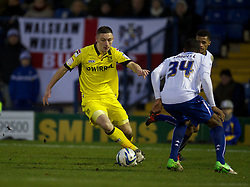 BURY, ENGLAND - New Year's Day Tuesday, January 1, 2013: Tranmere Rovers' Jake Cassidy in action against Bury during the Football League One match at Gigg Lane. (Pic by David Rawcliffe/Propaganda)