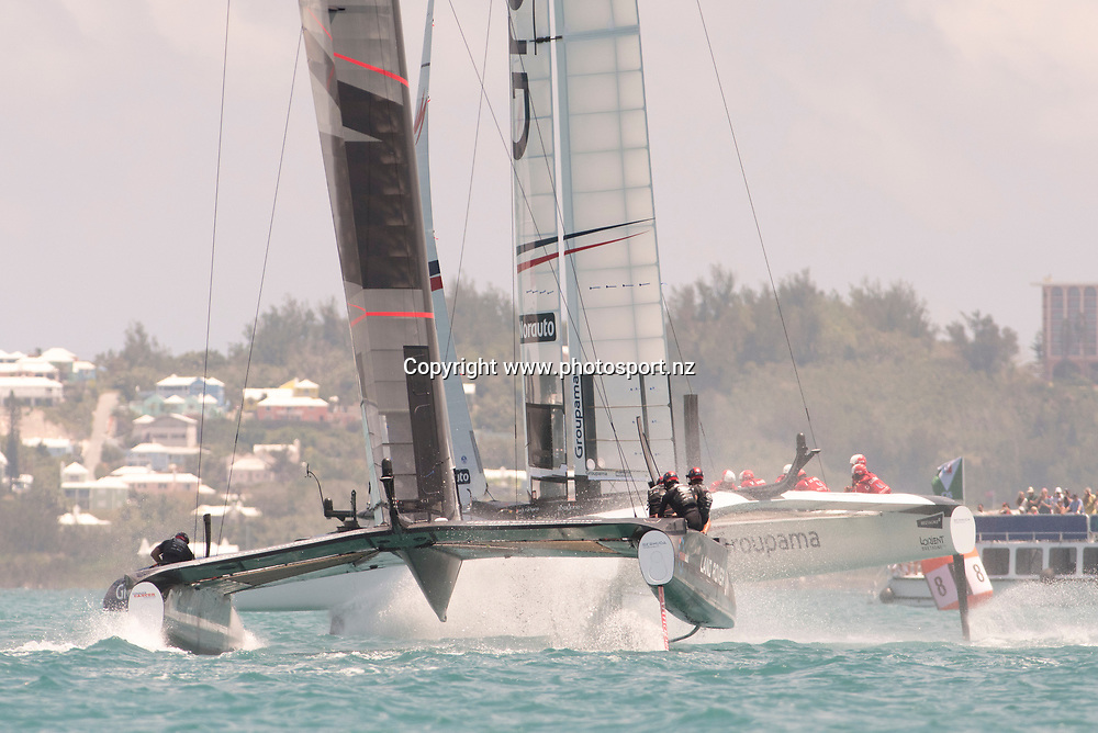 The start of race 13, Land Rover BAR (GBR) versus Groupama Team France. Groupama win. Day three of the America's Cup Qualifiers, Bermuda 29/5/2017 . Copyright Image: Chris Cameron / www.photosport.nz