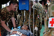 Banda Aceh, Indonesia<br /> The tsunami on December 26 2004 devastated Banda Aceh. Australian and New Zealand medics perform operations in a maksehift field hospital in the carpark front of the badly damaged and flooded public hospital