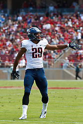 PALO ALTO, CA - OCTOBER 06: Wide receiver Austin Hill #29 of the Arizona Wildcats lines up for a play against the Stanford Cardinal during the second quarter at Stanford Stadium on October 6, 2012 in Palo Alto, California. The Stanford Cardinal defeated the Arizona Wildcats 54-48 in overtime. (Photo by Jason O. Watson/Getty Images) *** Local Caption *** Austin Hill