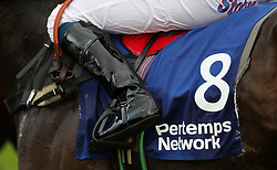 Detail of a Jockeys boot during day two of the Showcase at Cheltenham Racecourse