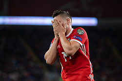 CARDIFF, WALES - Friday, September 6, 2019: Wales' Connor Roberts looks dejected after missing a chance during the UEFA Euro 2020 Qualifying Group E match between Wales and Azerbaijan at the Cardiff City Stadium. (Pic by Mark Hawkins/Propaganda)