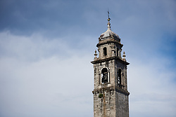The bell tower looms above the piazza hosting the Giro Rosa 2018 - Team Presentation in Verbania, Italy on July 5, 2018. Photo by Sean Robinson/velofocus.com