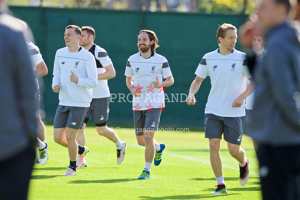 LIVERPOOL, ENGLAND - Wednesday, May 4, 2016: Liverpool's Joe Allen during a training session at Melwood Training Ground ahead of the UEFA Europa League Semi-Final 2nd Leg match against Villarreal CF. (Pic by David Rawcliffe/Propaganda)