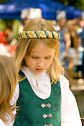Girl age 9 dressed in traditional costume. Svenskarnas Dag Swedish Heritage Day Minnehaha Park Minneapolis Minnesota USA